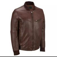 jaket kulit pria asli garut/jaket model bomber terbaru warna coklat