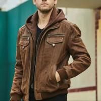 jaket kulit pria cokelat muda asli bahan domba super model kupluk