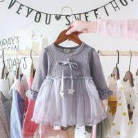 Dress pita bintang Anak Perempuan Lengan panjang Aksen 2-3 thn