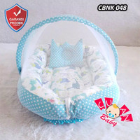 Kasur Bayi Baby Nest Model Perahu Motif Mix Polka navy White Arrow