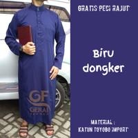 Jubah Saudi ArRomy Pakaian Gamis Muslim Pria Katun TOYOBO  GRATIS PECI - Biru Dongker, M