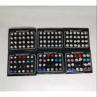 Anting magnet kristal mata warna putih dan warna warni