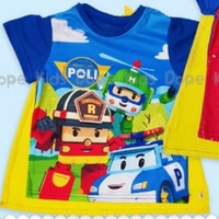 TShirt Robocar Poli + Sayap | Kostum Superheroes | T Shirt Robocar Po