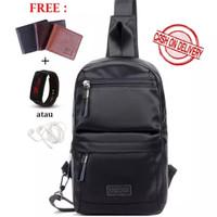 Tas Selempang Bahu Pria / Sling Bag / MS Black (Free Dompet)