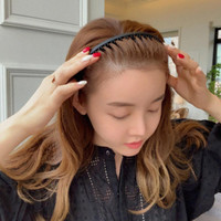 Black Plain Hairband Comb - Bando Polos Sirkam KOREA Premium Import
