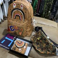 A bathing ape bape x mcm backpack bag