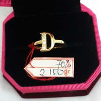 CP914F315F cincin emas kuning huruf inisial nama D abjad permata putih