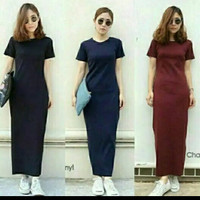 Elsa plain maxi fit to L bahan spandek - Biru