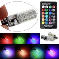 2 LAMPU LED T10 REMOTE RGB LAMPU KOTA / SENJA MOTOR & MOBIL ORIGINAL