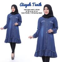 Tunik jeans wash / tunik muslim / atasan muslim wanita / tunik murah