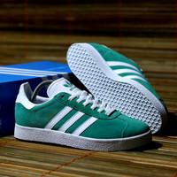 Sepatu Adidas Gazelle Green list White Original Bnwb