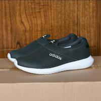 Sepatu Adidas Slip On Pria Sport Santai Tanpa Tali Hitam Navy Abu