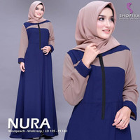 Baju Gamis Wanita Terbaru / Nura Dress / Fashion Muslim Wanita - Navy