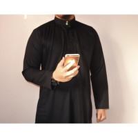 Gamis pria jubah pria premium polos kancing ( haramain )