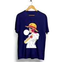 Kaos Navy Gambar Luffy 4 (OP) / Baju Distro Pria Keren Grosir Murah