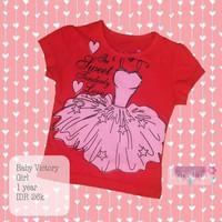 Promo Baju kaos anak perempuan baby victory 1-2 tahun merah pink