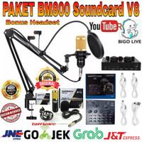 Paket Home Recording Mic BM800 Soundcard V8 Stand ARM Pop Filter