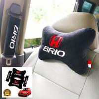 headrest mobil Set Bantal Mobil 2 in 1 Honda BRIO Hitam Eksklusif