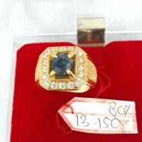 CL1119F179F cincin emas kuning permata batu biru blue safir mata putih