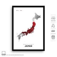 Japan Map Art Poster Peta Jepang Hiasan Minimalis Wall Decor Frame A3