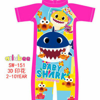 Baju renang anak sz 2-10th baju renang anak baby shark pink