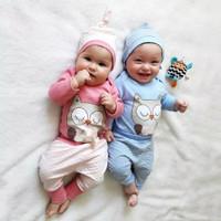 Setelan Twins Shirt Pants Baju Bayi Kembar Owl