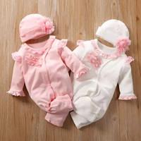 Set + Hat Baby Girl Twins Setelan Baju Bayi Kembar Sleepsuit Import