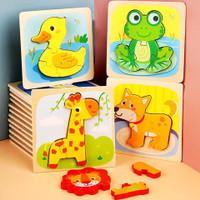 Mainan Edukasi Anak Puzzle Kayu ~ PUZZLE CHUNKY 3D ANIMAL & VEHICLE