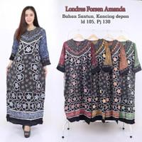 Lomgdress Batik Amanda / Gamis Rayon Batik / Baju Batik Wanita menyusu