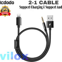mcdodo kabel lightning to jack 3.5mm audio aux speaker 2in1 iphone 7 8