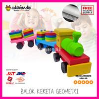 Balok Kereta Geometri - Mainan Edukasi Edukatif Anak Puzzle Kayu