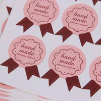Sticker Label Hand Made Medal design Pink / Label Kue Roti Souvenir