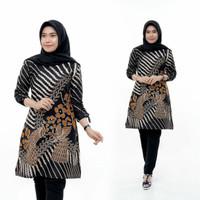 TUNIK ATASAN WANITA BATIK HITAM Baju Busana KERJA Muslimah