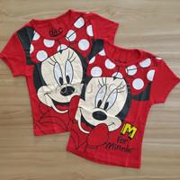 Baju Atasan Kaos Anak Perempuan Cewek Disney Minnie Mouse Merah