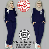 SMP TRAINING AD1DAS (XXL, 5 Warna) Stelan Baju & Celana Senam Wanita