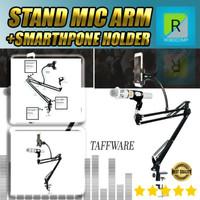 Stand Mic Suspension Boom Scissor Arm with Smartphone Lazypod - D6