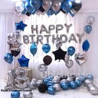 Paket set balon chrome happy birthday elegant exclusive fancy