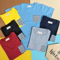 Kaos Anak Polos laki laki/ Baju Anak Remaja Variasi Saku Stripe