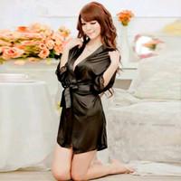 K216308 Sexy Kimono Lingerie Hitam - Baju Tidur Tipis Transparan
