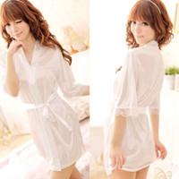K216308 Sexy Kimono Lingerie Putih - Baju Tidur Tipis Transparan