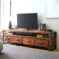 cabinet tv industrial jati rustic natural/rak tv jati minimalis klasik
