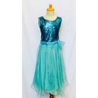 baju gaun pesta anak cewek perempuan princess gown blue pink cantik