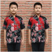 Inari Hitam Kemeja Anak Laki-Laki Lengan Pendek Baju Batik Anak Cowok