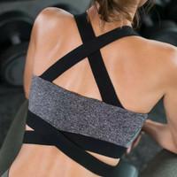 bh wanita push up pakaian dalam senam yoga bra gym lari pilates dansa - Hitam, S