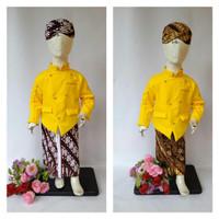 Beskap Baju Dalang Anak dan Bayi Set Jarik Batik Blangkon Warna Kuning