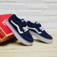 Sepatu Anak Vans Old Skool Perekat Tali Navy White Premium BNIB