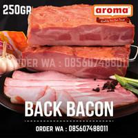 AROMA Pork Back Bacon 250gr 1/4kg Daging Babi Asap Smoked Slice NON