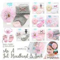Aksesoris bayi headband kaos kaki 2in1 / Setelan bando kaos kaki 2in1