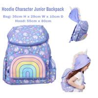 Smiggle Backpack Junior Hoodie Unicorn Ungu Tas Anak TK SD Original