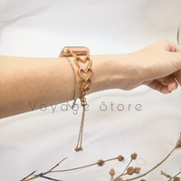 Apple watch cuff strap 38mm 40mm iwatch 3 4 5 hati rose gold stainless